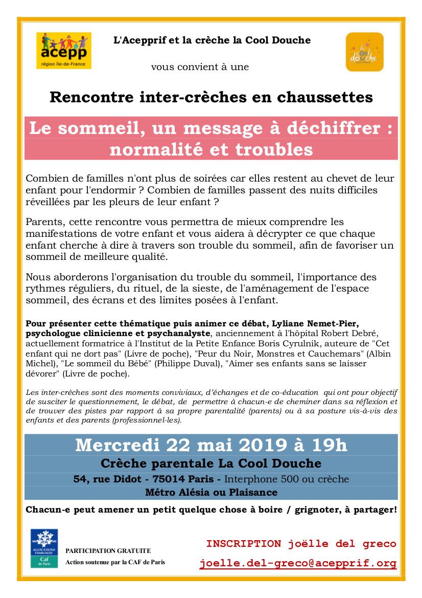Crèche parentale La Cool Douche 22 mai 2019
