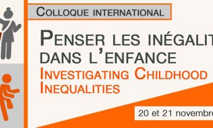 Penser les inégalités dans l'enfance : du 20 au 22 novembre 2019