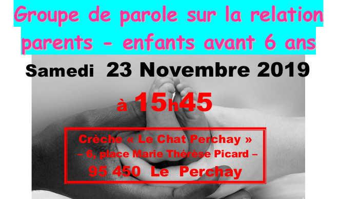 Groupe de parole : samedi 23 nov – 95450 Le Perchay